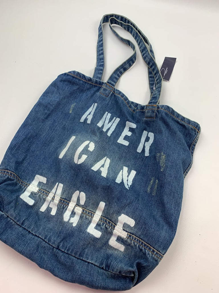 NWT American Eagle Outfitters Women's Blue Denim Purse Fabric Tote Size 14X15