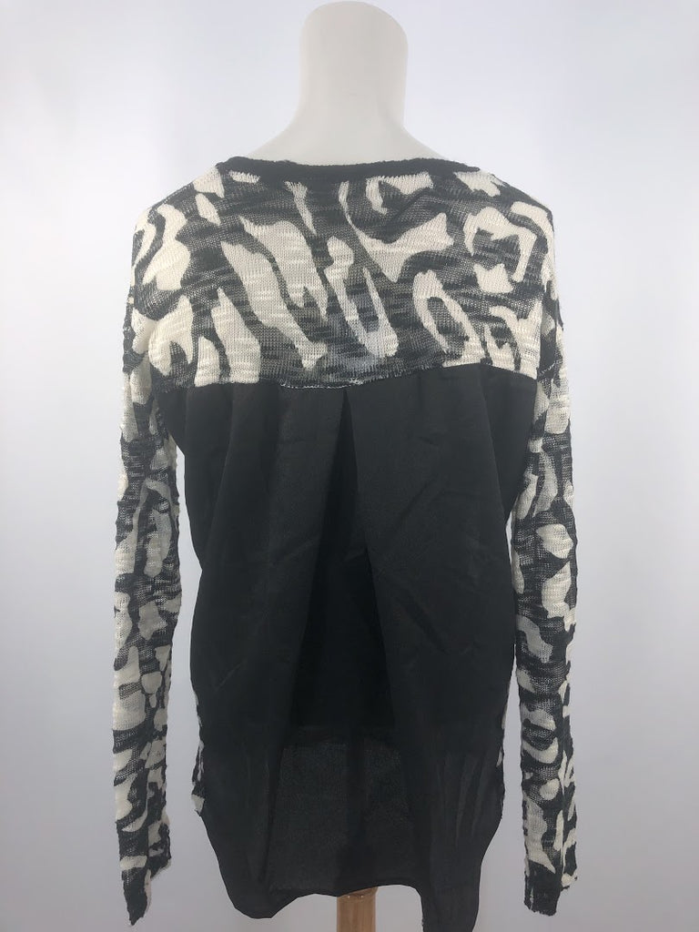NWT Kensie Women's Black Cream Msrp $89 Knit Top Top Size Xs