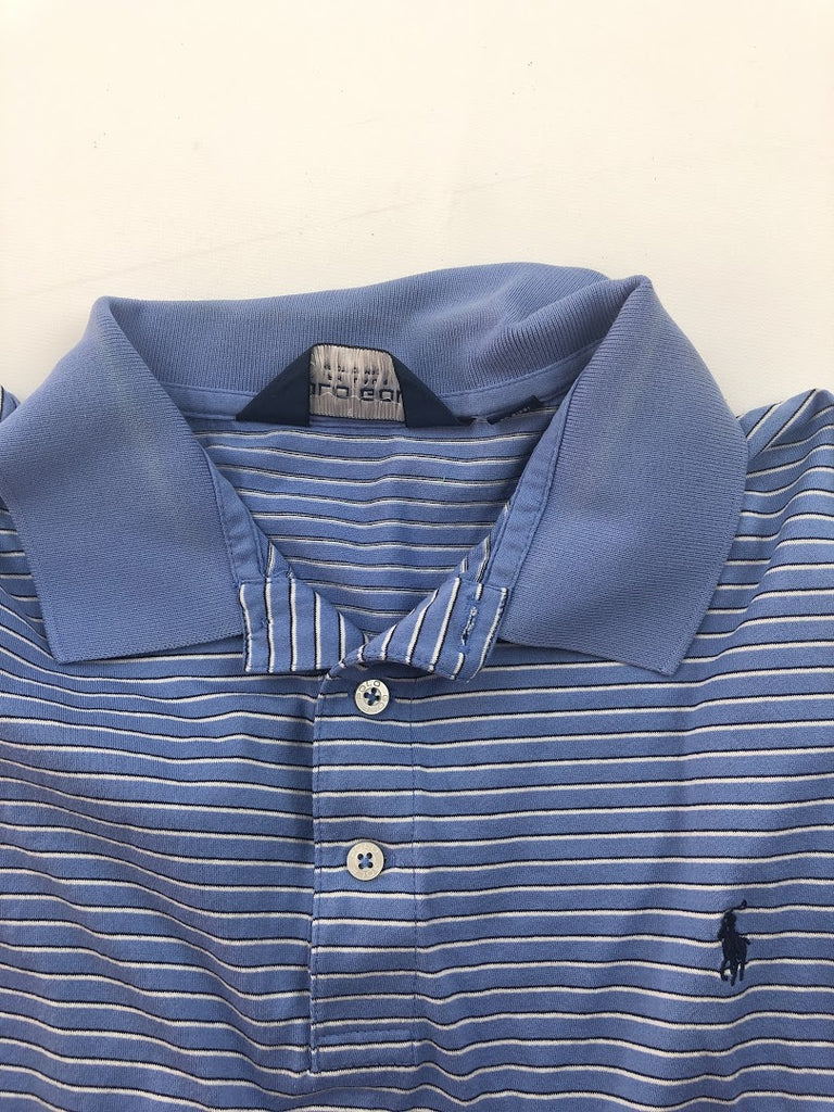 Polo Golf By Ralph Lauren Men's Blue White Striped Short Sleeve Polo Size L