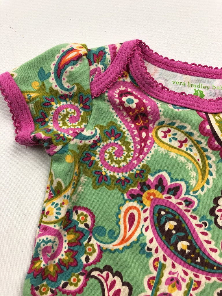 NWOT Vera Bradley Girl's Green Pink Summer Paisley Cotton One Piece Size 3-6M