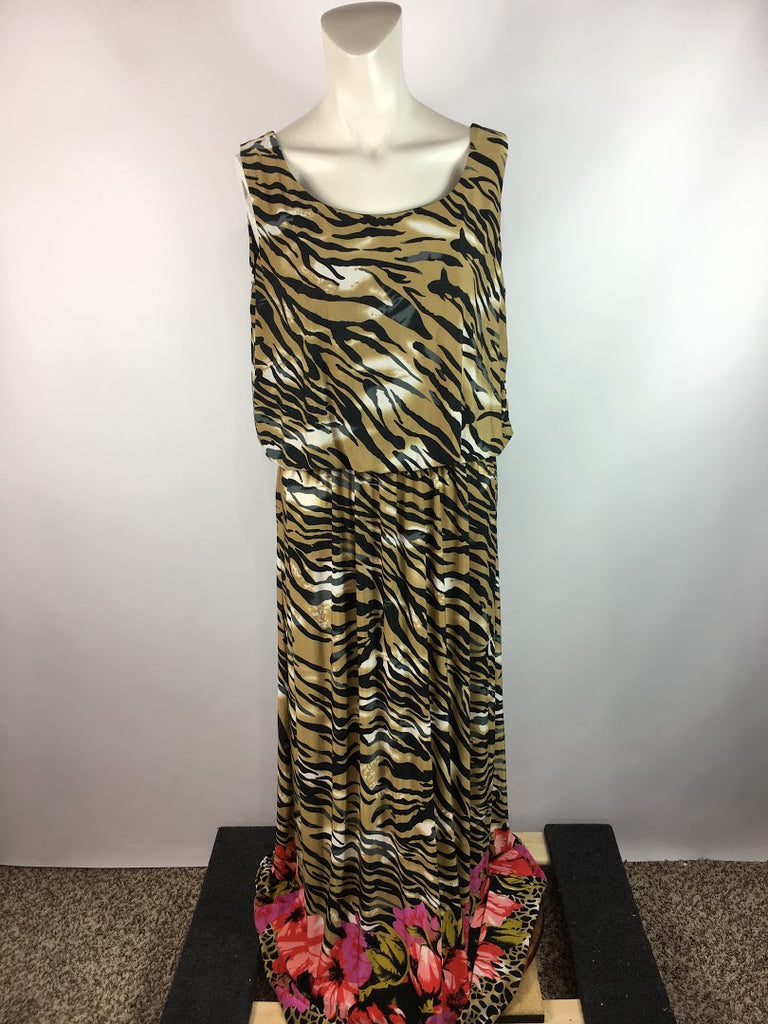 Blooming Rose Women's Animal Print Blouson Floral Leopard Maxi Dress Size L
