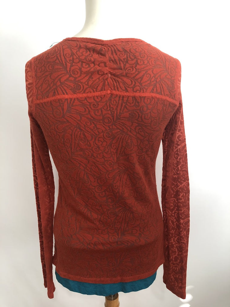 Marmot Women's Blue Rusty Red Lacy Long Sleeve Blouse Top Size S