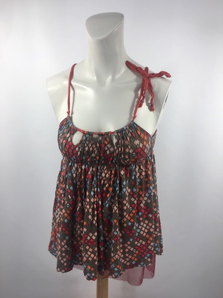 Free People Women's Red Checks Boho Distressed Rayon Babydoll Top Size S