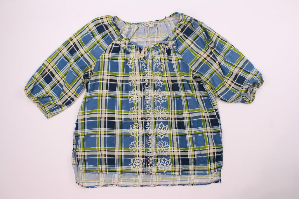 Live And Let Live Women's Green , Blue Plaid Drawstring Blouse Top Size L