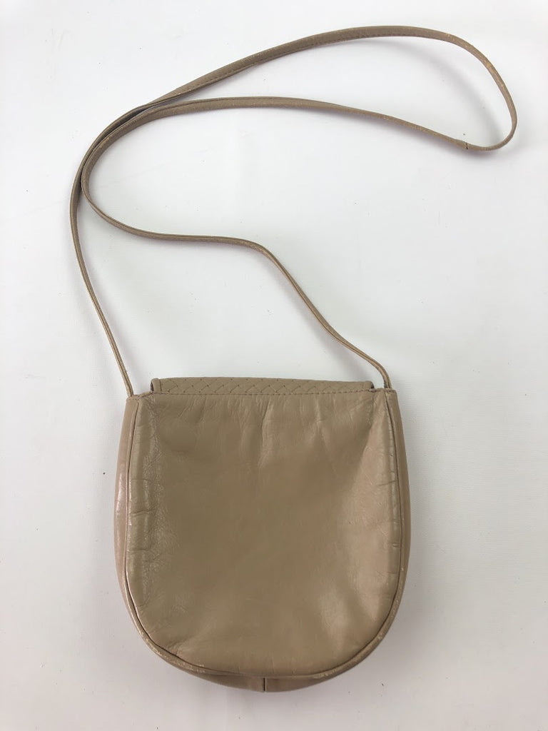 Vintage Women's Beige Mini Leather Crossbody