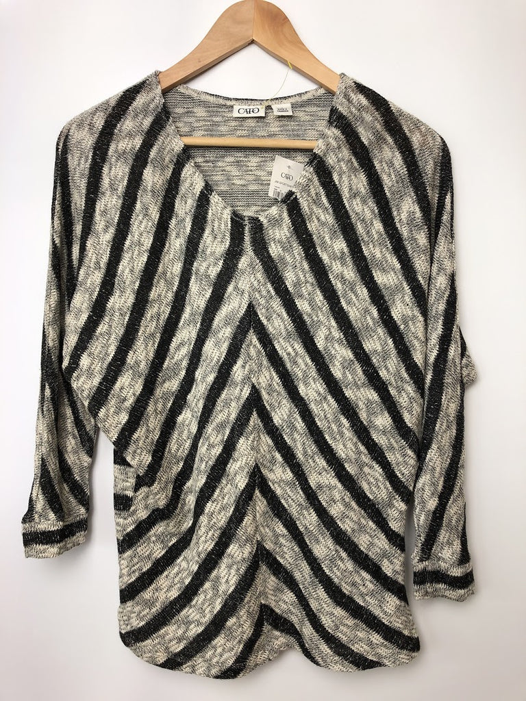 NWT Cato Women's White Black Batwing Stretchy Knit Sweater Size M