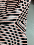 Talbots Women's Black Pink Striped Thermal Short Sleeve Knit Top Top Size M