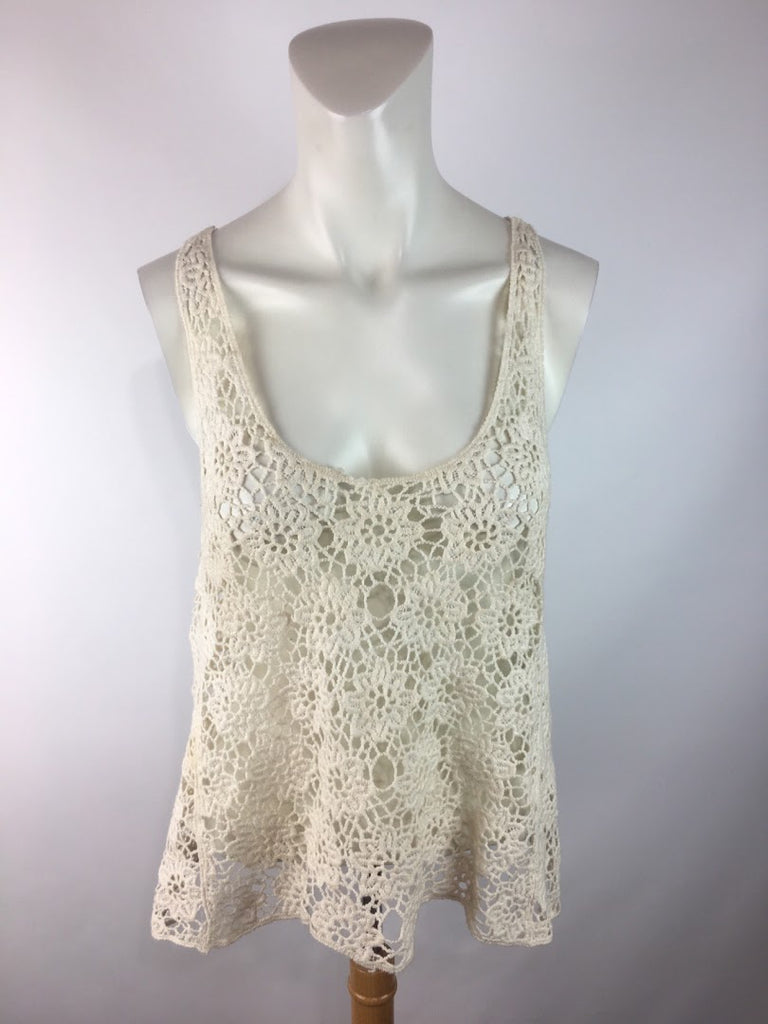 Iris Women's Ivory Floral Lace Mesh Tank Cami Top Size S