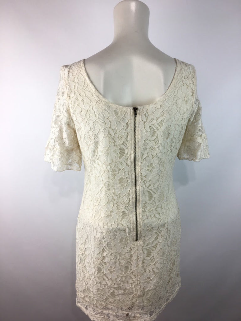 Tulle Women's Cream Floral Lace Adorn Lined Back Zip Mini Dress Size S