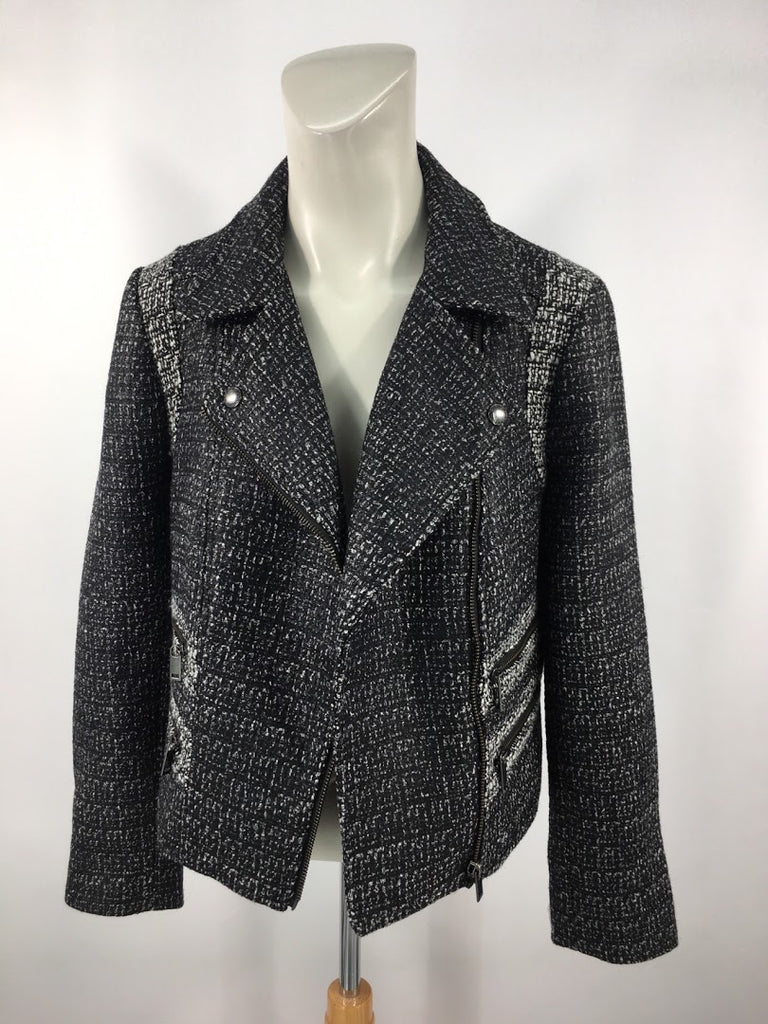 NWT Banana Republic Women's Black Marled Petite Motorcycle Jacket Size 8P