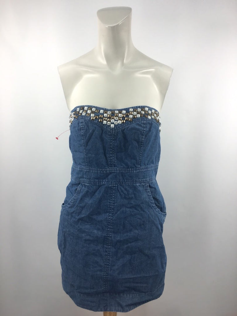 We The Free Women's Blue Studded Strapless Dress Size 6