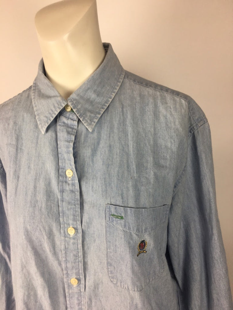 Tommy Jeans Women's Blue Vintage 90S Long Sleeve Button Down Shirt Top Size 14