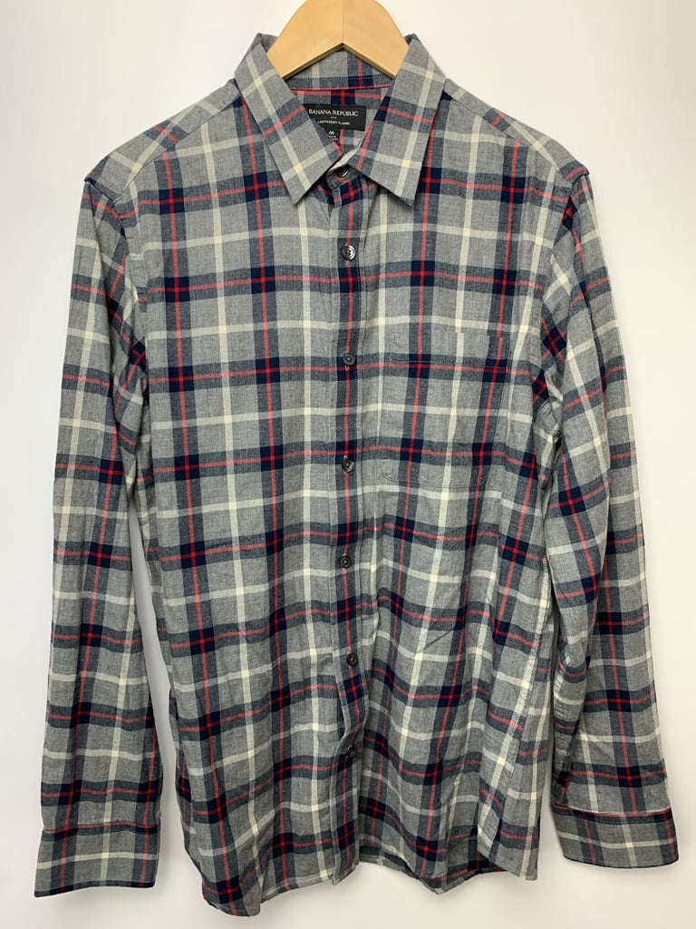 Banana Republic Men's Gray Plaid Lightweight Flannel Button-Front Shirt Size M