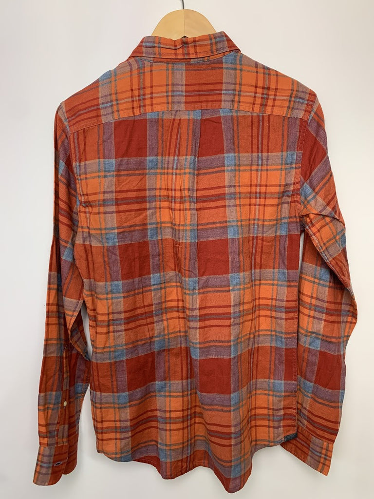 NWT Dockers Men's Brown Plaid Slim Fit Long Sleeve Button-Front Shirt Size S