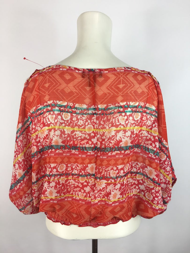 A Byer Women's Orange Floral Blouson Lined Polyester Butterfly Top Size S