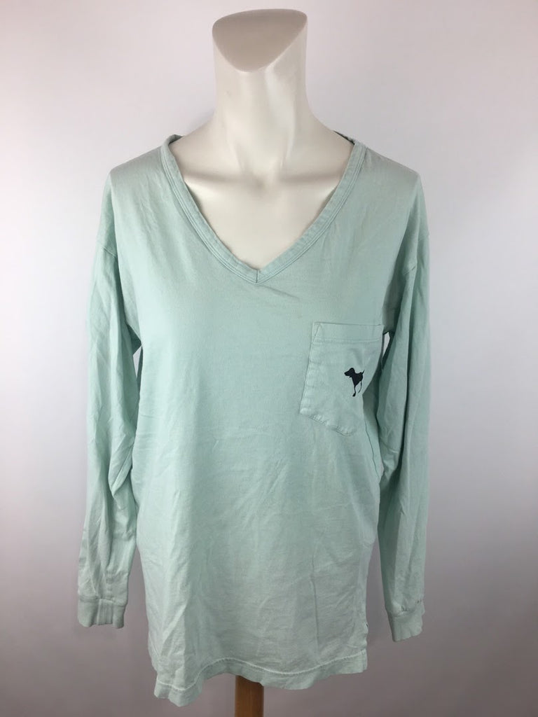 Pink Women's Mint Green Long Sleeve Cotton T-Shirt Top Size S