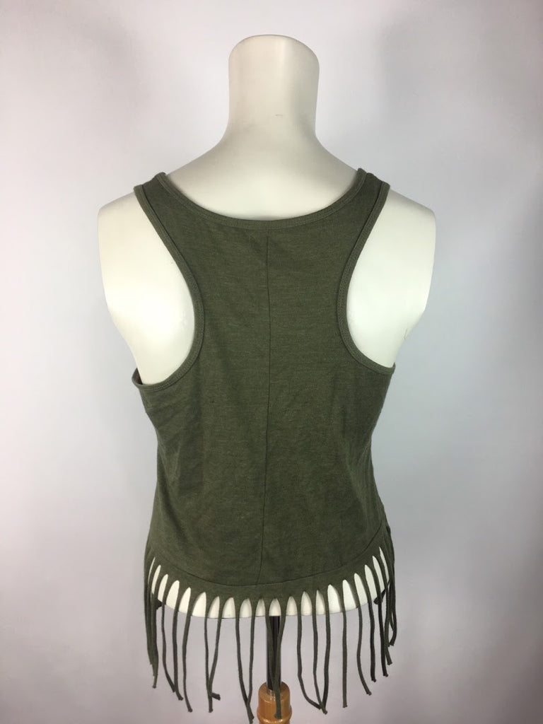 Peanuts Women's Green Floral Hani Snoopy Fringe Cotton Tank Cami Top Size S