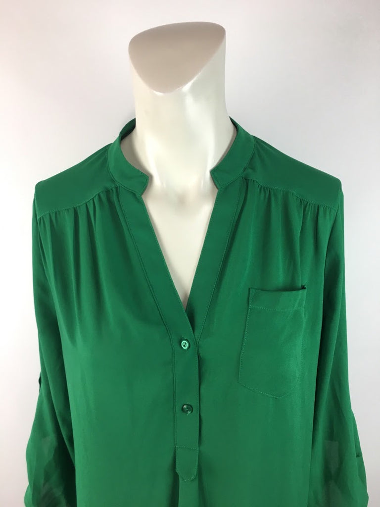 41 Hawthorn Women's Green Solid Long Sleeve Polyester Blouse Top Size S