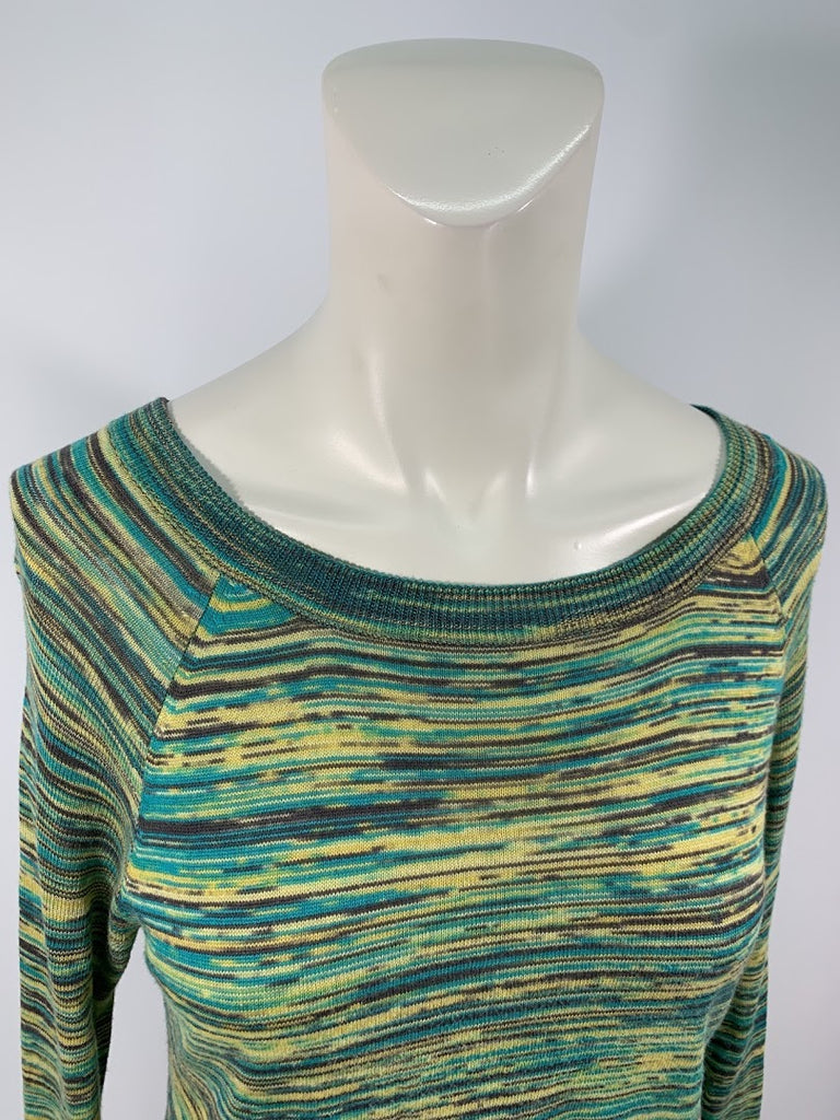 Bcbgmaxazria Women's Striated Adalyn Evergreen Shred Back Knit Top Top Size Xs