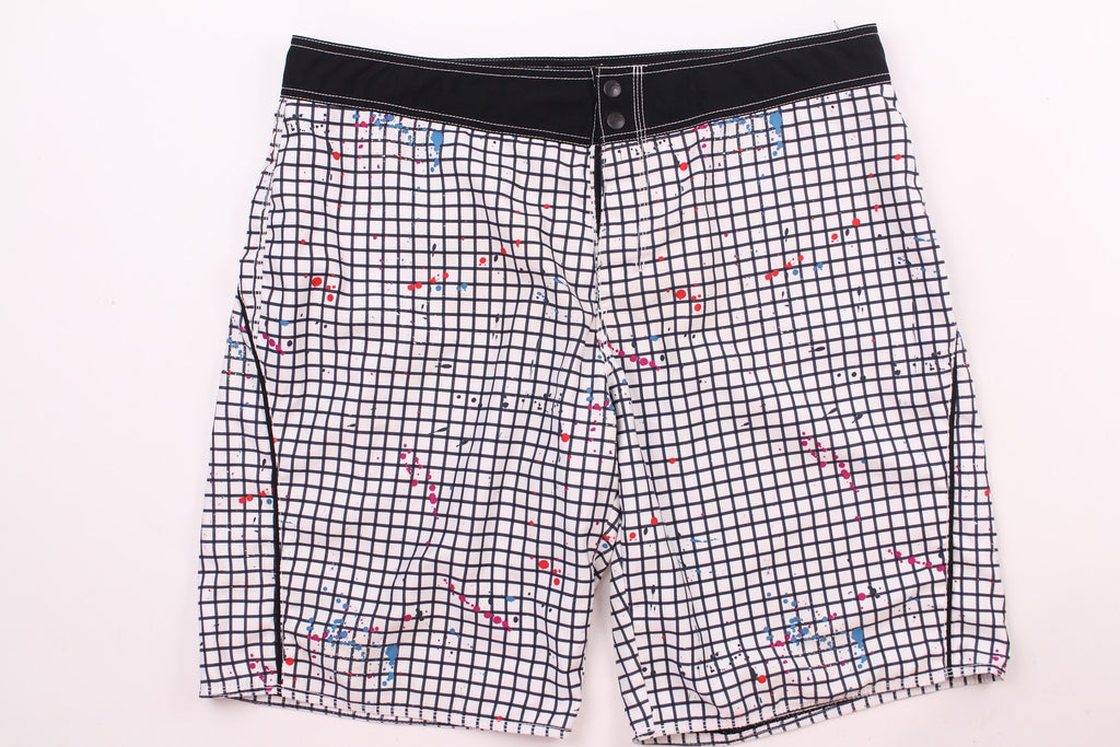 Old Navy Men's White Black Check Trunks Swimwear Size L