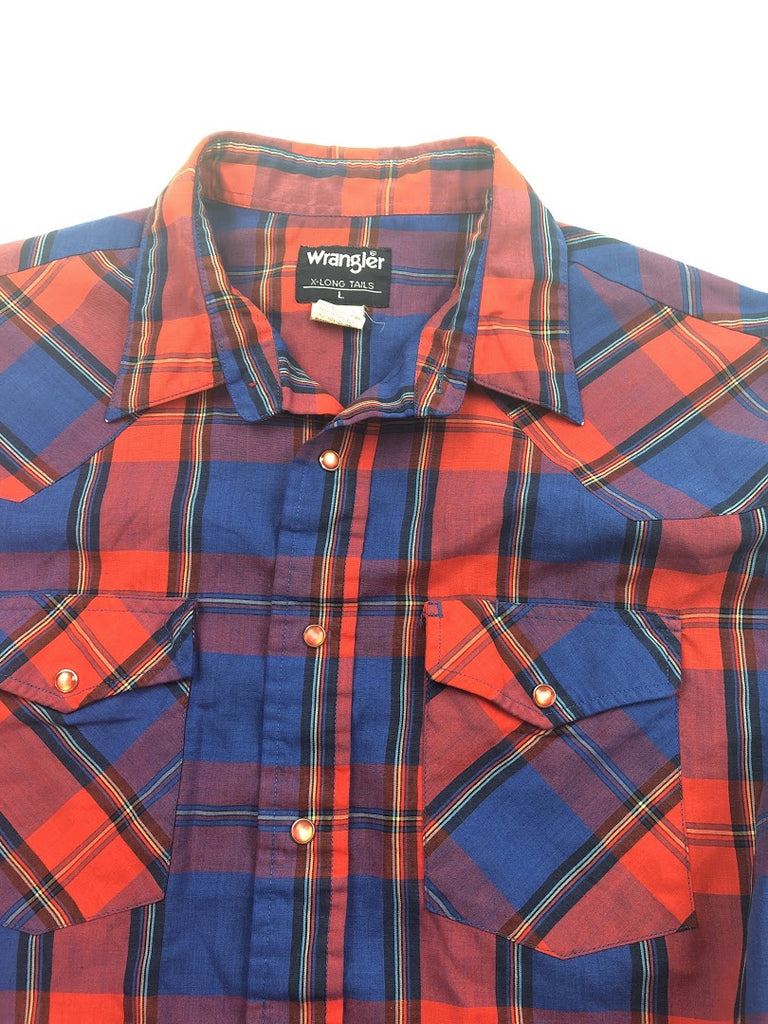 Wrangler Men's Red Blue Plaid Light Cotton Tails Pearl Snap Shirt Size X-Long