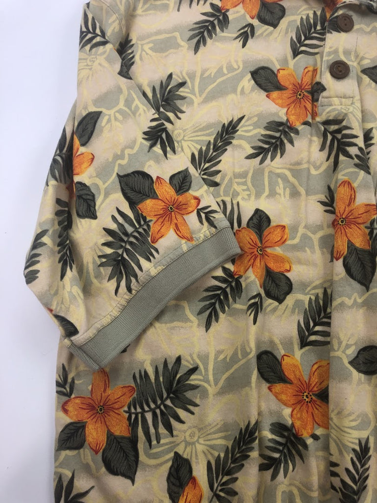 Pineapple Moon Men's Yellow Orange Hawaii Shirt Hibiscus Polo Size L