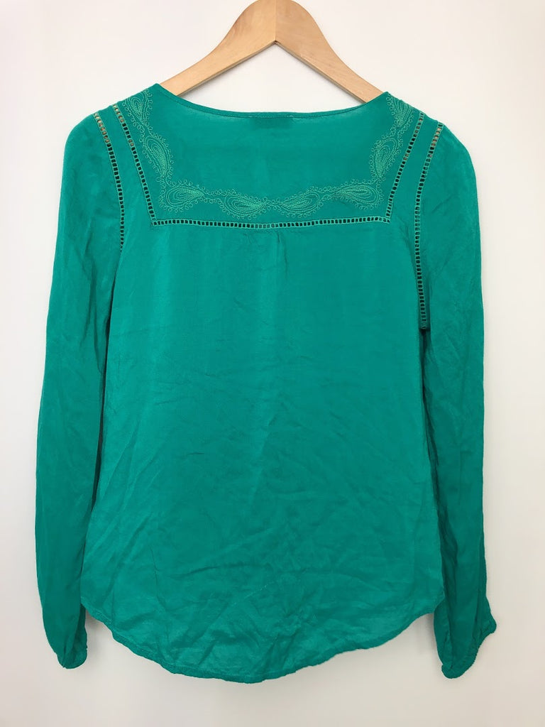 Lucky Brand Women's Green Long Sleeve Blouse Top Size S