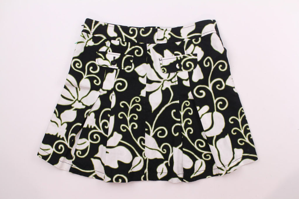 Ann Taylor Women's Green Black Cotton Linen Pleated Skirt Size 10
