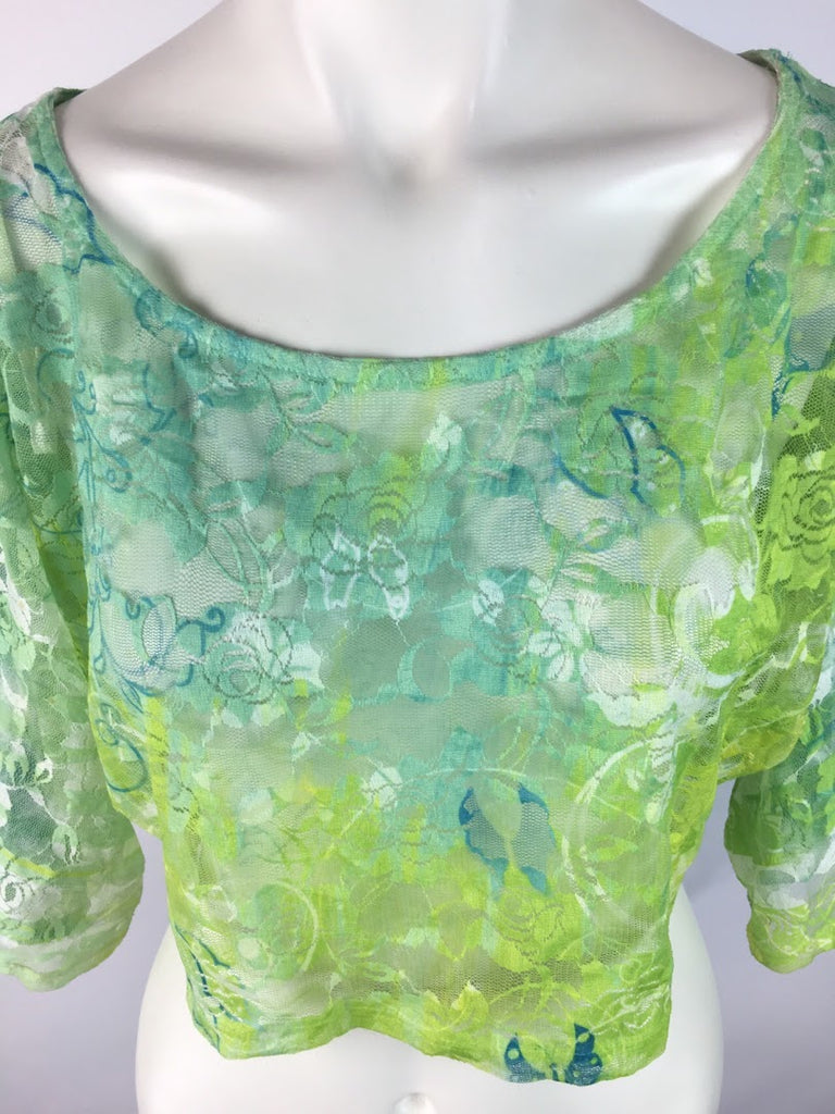 Body Central Women's Green Floral Mesh Sheer Short Sleeve Crop Top Top Size S