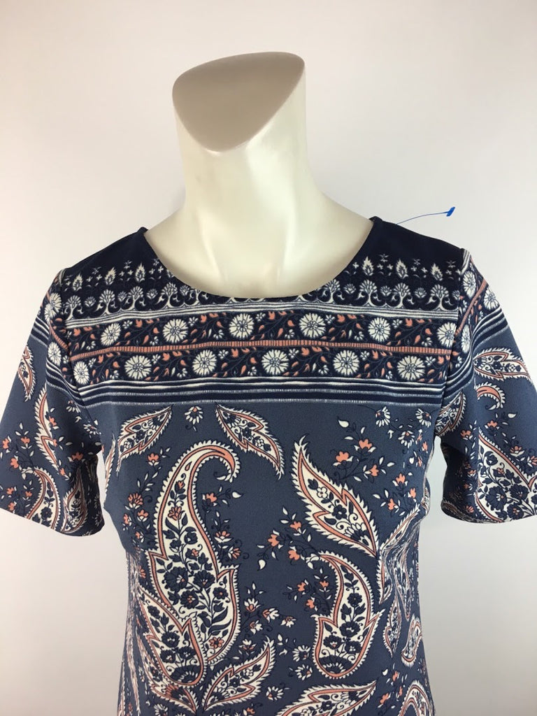Abercrombie & Fitch Women's Blue Paisley Short Sleeve Tunic Dress Size Xst