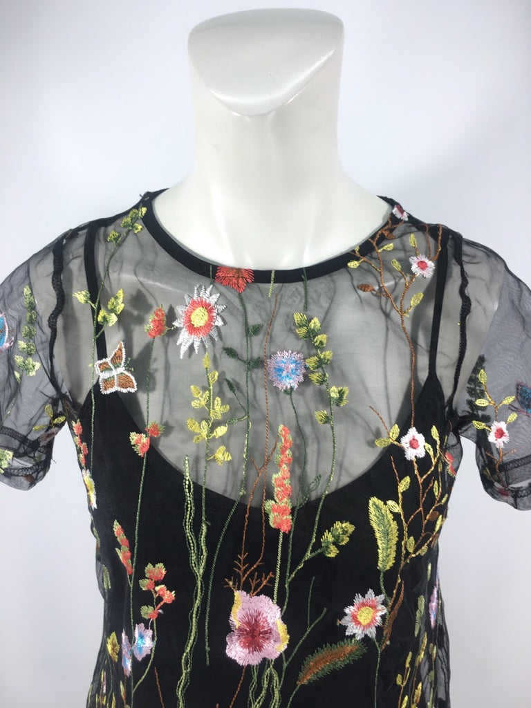 A'Gaci Women's Black Floral Embroider Mesh Short Sleeve Blouse Top Size S