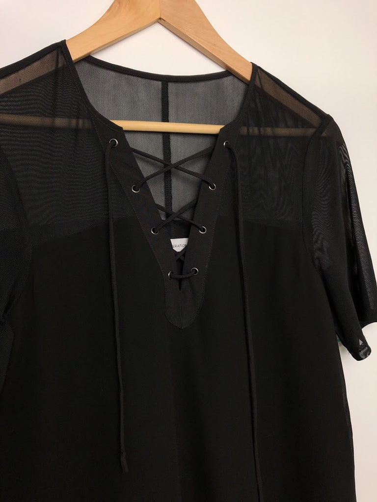 Bcbgeneration Women's Black Sheer Lace Up Neck Mini Dress Size Xs