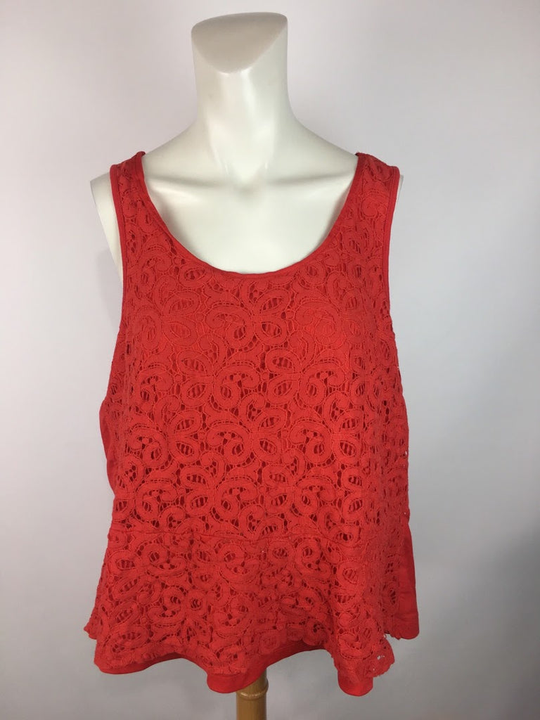 Lane Bryant Women's Red Laced Front Back Zip Sleeveless Blouse Top Size 14
