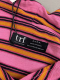 NWT Zara Women's Pink Striped Trf Collection Long Sleeve Top Size Xs