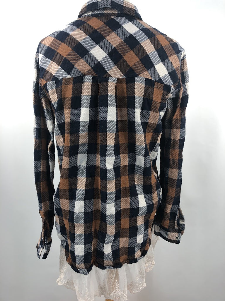 Entro Women's Blue Brown Check Lace Hemmed Overize Top Size S