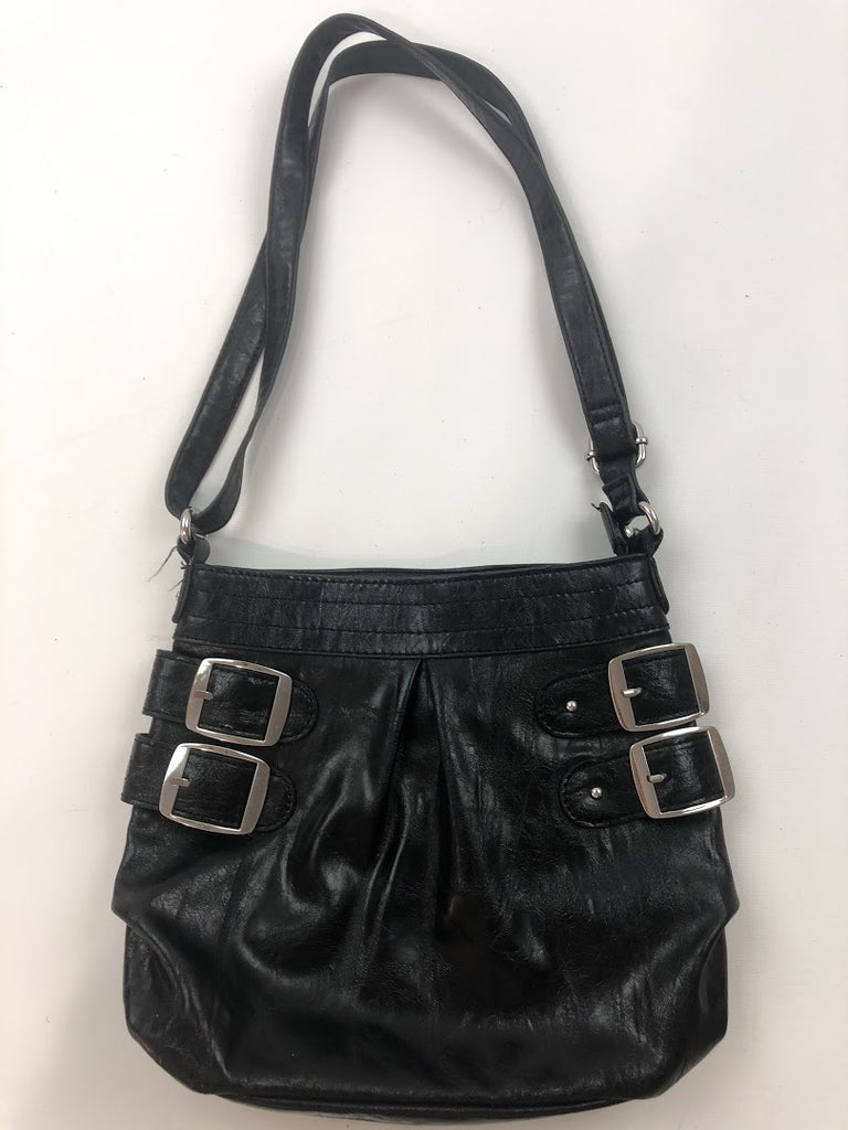 Style & Co. Women's Black Buckle Zipper Vegan Leather Crossbody
