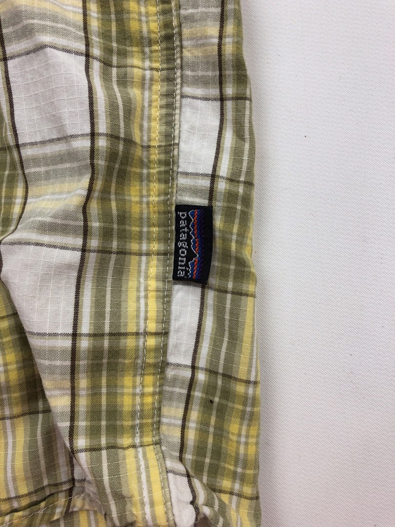Patagonia Men's Yellow Plaid Short Sleeve Cotton Button-Front Shirt Size M