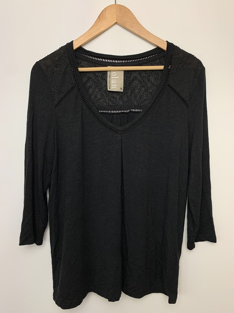 Dolan Women's Black 3/4 Sleeves Blouse Top Size M