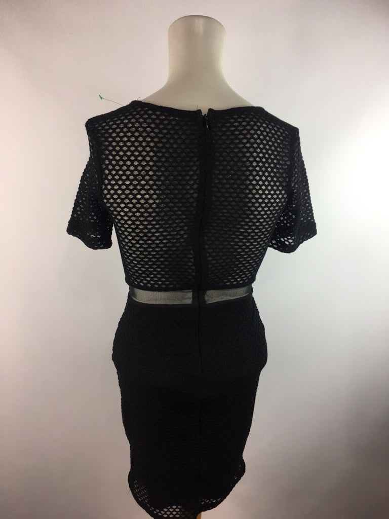 Lush Women's Black Fish Net Lined Stretch Polyester Bodycon Dress Size S