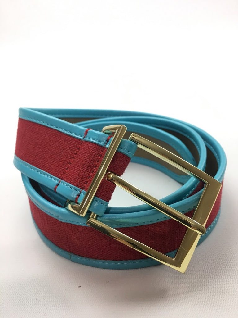 Talbots Women's Red Blue Leather Trim Linen Waist Belt Size M