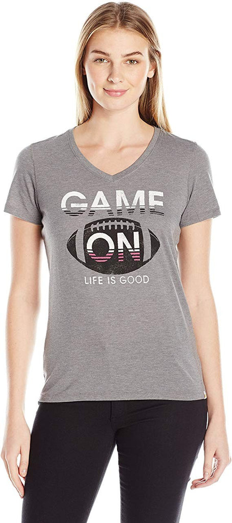 Life is good Women's Shortsleeve Cool Game on Football T-Shirt Slate GrayMedium