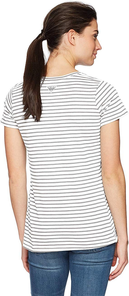 Columbia Women's PFG Monogram Fishing Tee White/Columbia Grey Stripe, Small
