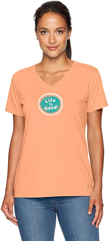 Life is Good Women's Crusher Vee Lig Sphere Frscrl T-Shirt Fresh Coral X-Small