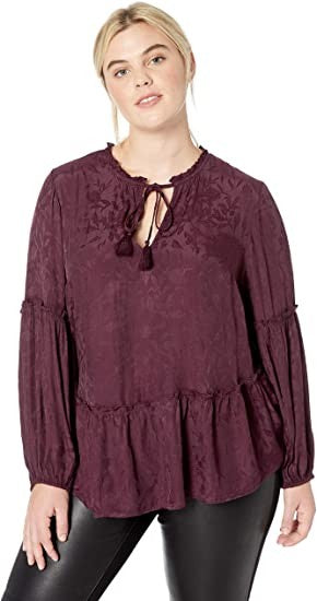 Lucky Brand Women's Plus Size Luxe Jacquard Peasant TOP, Plum, 2X