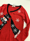 NWT Mandal bay Women's Ugly Christmas sweater snow man Cardigan Sweater Size S