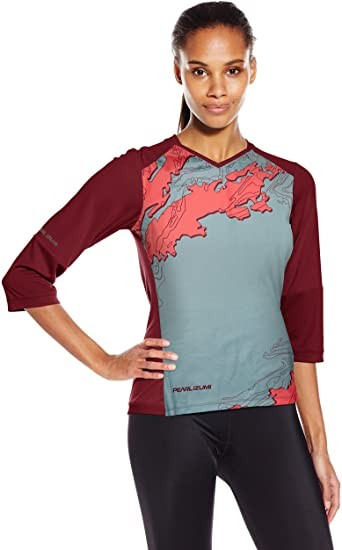 PEARL IZUMI Women's Launch 3 Quarter Sleeved Jersey, Cayenne/Port Composite, XS