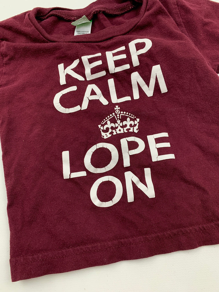 Precious cargo Girl's Burgundy Toddler shirt keep calm lope on Size 12m