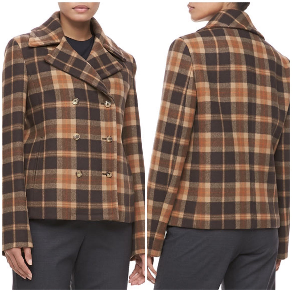 Michael Kors Women's Brown Plaid $608 Wool Peacoat Jacket Size 10