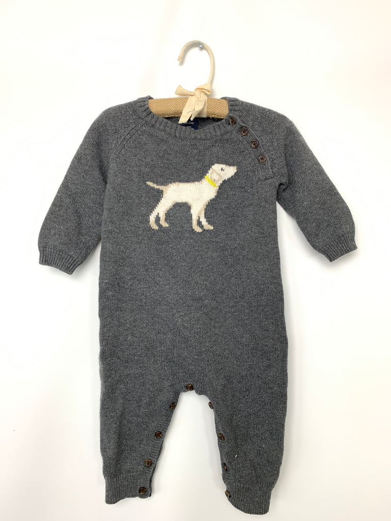 Gap Boy's Gray Knit dog romper baby gap One-Pieces Size 6-12m