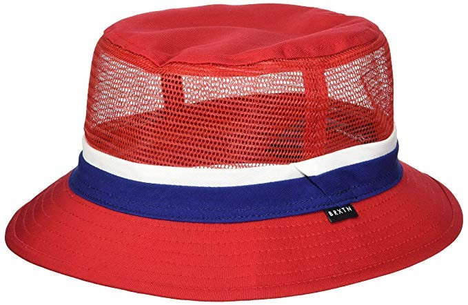 Brixton Men's Hardy Short Brim Mesh Bucket Hat red/Navy S